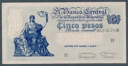 P 264d  5 PESOS 1959  Série H (Bottero - B1876) *** AUNC *** N° 90,135,780H - Argentina