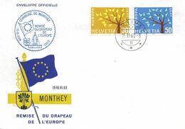 """256 - 35 - Enveloppe """"remise Du Drapeau De L'Europa Monthey 1963"""" - Marcofilie"""