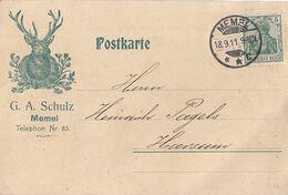 DR Werbekarte G. A. Schulz Memel EF Minr.85I Memel 18.9.11 - Deutschland