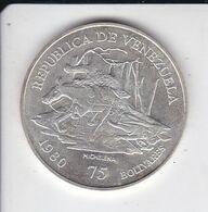 MONEDA DE PLATA DE VENEZUELA DE 75 BOLIVARES DEL AÑO 1980 - MICHELENA (SILVER-ARGENT) - Venezuela