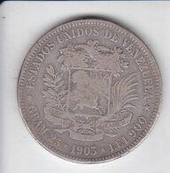 MONEDA DE PLATA DE VENEZUELA 5 BOLIVARES DEL AÑO 1903 DE BOLIVAR - 25 GRAMOS Y LEI 900  (COIN) SILVER,ARGENT. - Venezuela