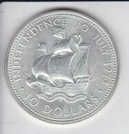 MONEDA DE PLATA DE BAHAMAS DE 10 DOLLARS DEL AÑO 1973 (BARCO-SHIP)  (COIN) SILVER-ARGENT - Bahamas