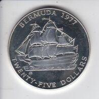 MONEDA DE PLATA DE BERMUDA DE 25 DOLLARS DEL AÑO 1977 (BARCO-SHIP)  (COIN) SILVER-ARGENT - Bermudas