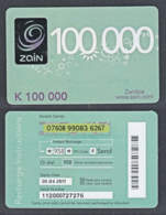 Tc020 ZAMBIA, Zain Phonecard, K100,000, Used - Zambia