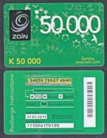 Tc040 ZAMBIA, Zain Phonecard, K50,000, Used - Zambia