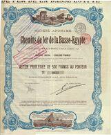 Titre Ancien - Société Anonyme Des Chemins De Fer De La Basse-Egypte - Titre De 1896 - Déco - Railway & Tramway