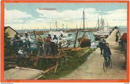 DK043,  * SNEKKERSTEN  HARBOUR VIEW With SHIPS And PEOPLE  *  UNUSED - Denmark