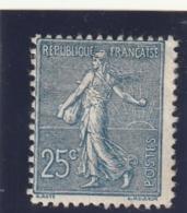 /// FRANCE --  Semeuse  Lignée 25ts Bleu Foncé  N°132 Neuf * Charniere Côte 110€ - 1903-60 Semeuse A Righe