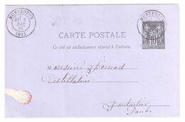 MONTBOZON 69 Haute Saone Carte Postale Entier 10c Sage Dest Pontalier Doubs Verso Ob 1881 Yv 89-CP2 - Postal Stamped Stationery