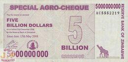 ZIMBABWE 5 BILLION DOLLARS 2008 PICK 61 UNC - Zimbabwe