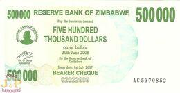 ZIMBABWE 500000 DOLLARS 2007 PICK 51 UNC - Zimbabwe