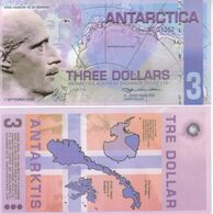 Antarctica 3 Dollars 2008 Polymer Banknotes  UNC - Banknotes