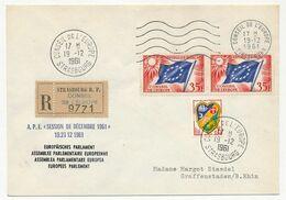 FRANCE - Env Reco Conseil De L'Europe 35F Drapeau X2 + 0,15 Alger - 19/12/1961 - Session De Décembre 1961 - Lettres & Documents