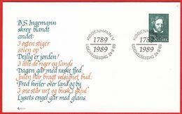 DENMARK - 1989 FDC «Bernhard Severin Ingemann  - Poet/author» Mi# 956 - Danimarca
