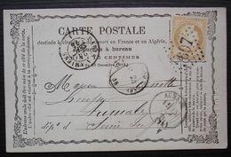 Saint Just En Chaussée 1874 Gc 3697 Carte Précurseur  Pour Aumale, De Lefebvre, Greffier, Nom En Relief - 1849-1876: Periodo Clásico