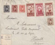 DDW 079 -- EGYPT Fouad Registered Cover With 3 X Congrès De Médecine Stamps - ALEXANDRIA 1929 To HASSELT Belgium - Covers & Documents