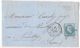 DEVANT DE LETTRE OBLITÉRÉE AVEC NAPOLÉON 3 LAURÉ ;19/AOUT 1870 COURRIER POUR PARIS ;VARIÉTÉ ;TB - 1863-1870 Napoleon III Gelauwerd