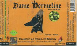 étiquette Décollée Bière Dame Hermeline Brasserie Le Goupil Rosières - Beer