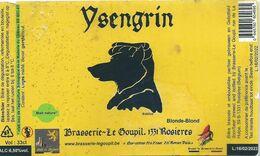 étiquette Décollée Bière Ysengrin Brasserie Le Goupil Rosières - Beer