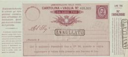 2 Scans Cartolina Vaglia Annullato - Entero Postal
