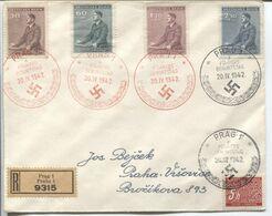 Böhmen Und Mähren # 85-88 R-FDC Sonderstempel #96a,b,c,d Schwarz Prag 20.4.42 - FDC