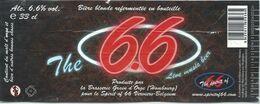 étiquette Décollée Bière The 66 Brasserie Grain D'orge Hombourg - Beer