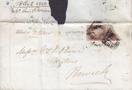 Great Britain 1850 JEDBURGH Berwickshire Scotland Cancel No. 18? Cover 2x 1 Penny Red Victoria (Imperf.) (Mi. 3) NORWICH - 1840-1901 (Victoria)