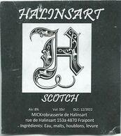 étiquette Décollée Bière Halinsart Scotch Brasserie De Halinsart Fraipont - Beer