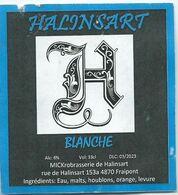 étiquette Décollée Bière Halinsart Blanche Brasserie De Halinsart Fraipont - Beer
