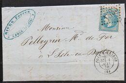Lettre  Du 01/06/1870 De Foix-S-Ariège  (08) GC 1533 Indice 2 Sur N° 29B - Postmark Collection (Covers)