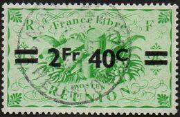 Réunion Obl. N° 256 - Détail De La Série De LONDRES Surchargé En 1945 - Productions - 2f40 Sur 25cts C Vert - Used Stamps