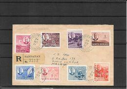North Borneo 1951, Registred Cover Sandakan To Kuala Lumpur Via Singapore (ref 1964) - Nordborneo (...-1963)