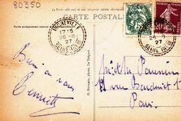 """Cachet Perlé Facteur Boitier """"Incheville Seine-Infre 1927""""semeuse+blanc Indice=3 Cp Mers Les Bains 2 Scans - Matasellos Manuales"""