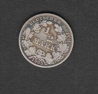 Deutschland Deutsches Kaiserreich 1/2  Mark 1905 A Kursmünze Silber 900 Kupfer 100 - [ 2] 1871-1918: Deutsches Kaiserreich