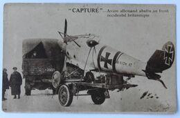 CPA Guerre 14-18 WW1 Avion Allemand Abattu Au Front Occidental Britannique Capturé Avion Tiré Par Un Camion - Guerra 1914-18