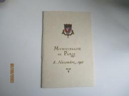 1911 Menu  Municipalite Paris  Dejeuner Membre 6 Eme Congres Maires De France - Menus