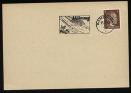 WW II DR 3 Pfg Adolf Hitler Postkarte: Gebraucht Mit Werbestempel Nahrung Ist Waffe Magdeburg 1944 ,Stempelbeleg. - Germany