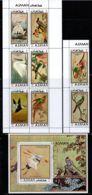 Ajman 1971 Mi# 809-816, Block 273 A ** MNH - Incl. Block Of 6 + Pair - Exotic Birds / Paintings By Japanese Painters - Ajman