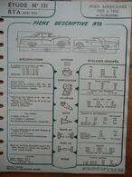 """Fiche """"Revue Technique Automobile"""" (RTA) Mars 1957 - Ford Américaines 1955 à 1956 Et Thunderbird - Auto"""