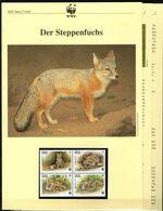 1999 Kirgisistan WWF Steppenfuchs 4 ** + 3 Blätter Beschreibung - Neufs