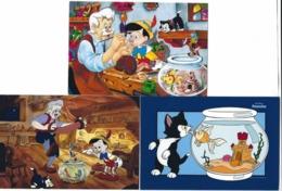 China, Cina, Chine; Pinocchio-Disney With The Cat Figaro, 3 Postal Stationery, Intero Postale, Prepaid Postcard . - Gatti