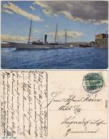 Ansichtskarte  Segelschiff/Dampfschiff Am Hafen 1909 - Voiliers