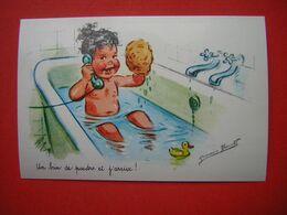 CPM  GERMAINE BOURET  ILLUSTRATION  ENFANT DANS SON BAIN  UN BRIBN DE POUDRE ET J'ARRIVE   VOYAGEE - Bouret, Germaine