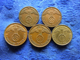 GERMANY 1 PFENNIG 1937A, 1938A KM89, 2 PFENNIG 1937A, 1939A KM90, 5 PFENNIG 1938A KM91, Cleaned - [ 4] 1933-1945 : Third Reich