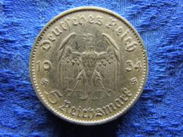GERMANY 5 MARK 1934E, KM83 - [ 4] 1933-1945 : Third Reich