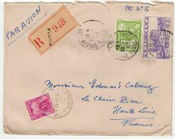 Sur Enveloppe Par Avion Recommandée Pour La France CAD Tunis 1945. 2 Timbres Tunisie RF. Un Timbre Taxe. - Tunesien (1956-...)