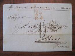 1850 Steamer America Boston New York Usa France US Vorphila Marcophilie - …-1845 Vorphilatelie