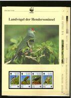 1996 Pitcairn-Inseln WWF Landvögel / Henderson Island Birds 4 ** + 3 Blätter Beschreibung - Neufs