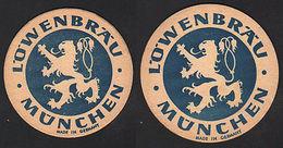 OLD BEER COASTER LÖWENBRÄU MUNICH GERMANY 1950 - 1960 POSAVASOS CC009 - Posavasos (Portavasos)