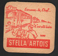 OLD BEER COASTER STELLA ARTOIS BELGIUM YEARS 1950 - 1960  POSAVASOS CC011 - Posavasos (Portavasos)